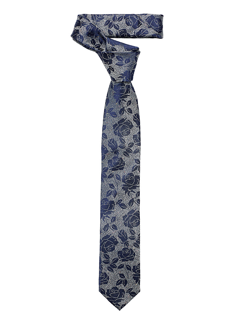 Le 31 Marine Blue Metallic rose tie for men