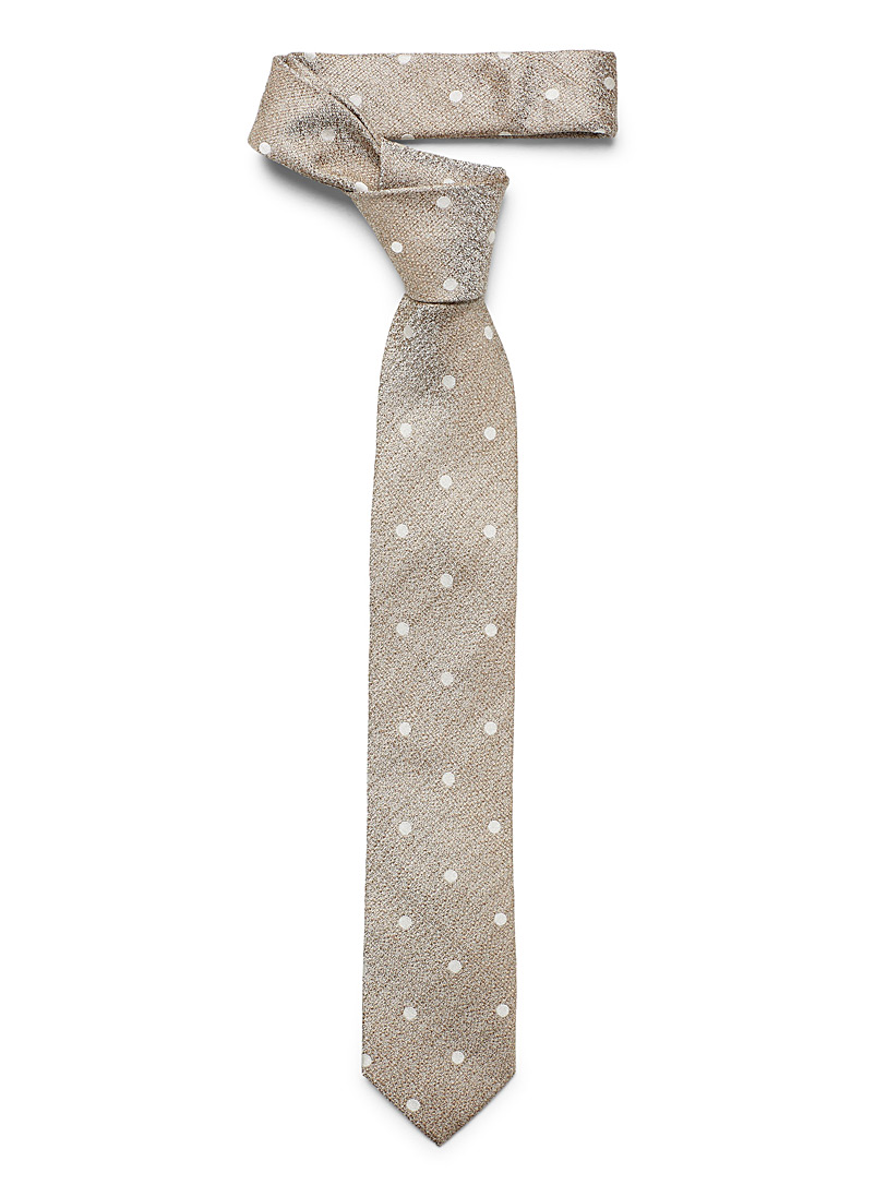Le 31 Cream Beige Dotted chambray tie for men