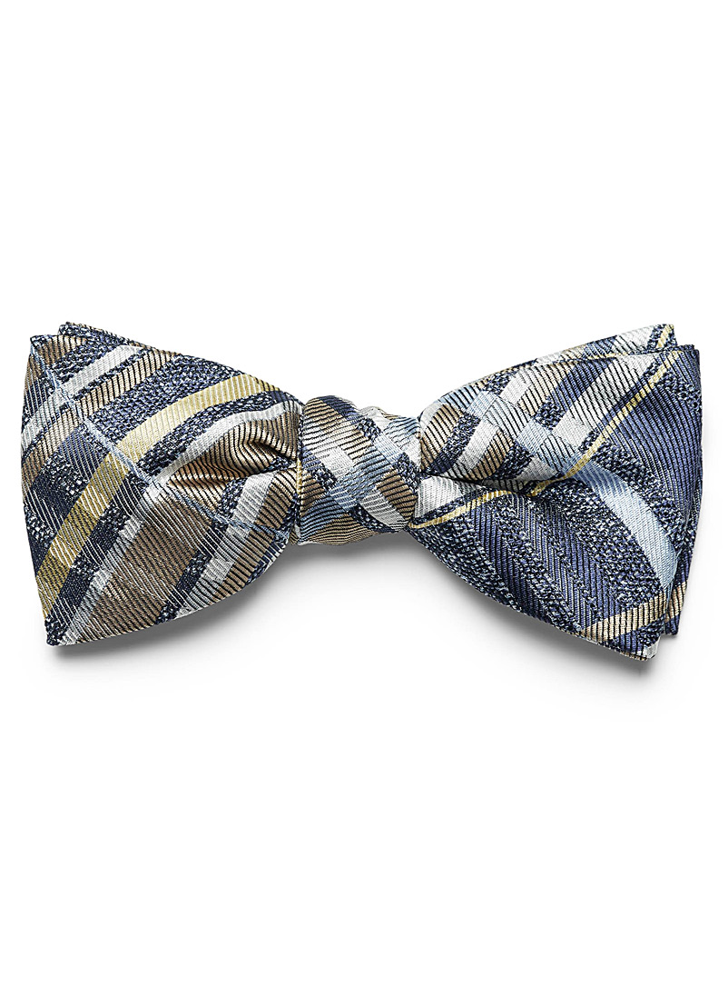 Le 31 Blue Heathered check bow tie for men