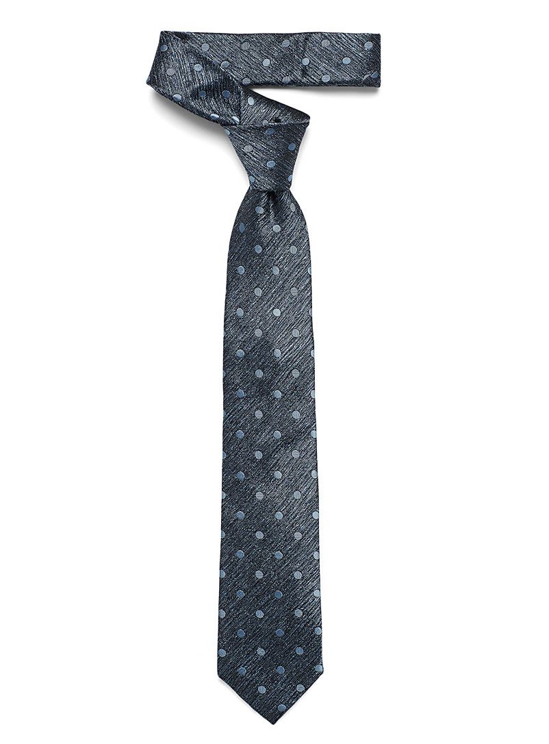 Monochrome heathered weft dot tie