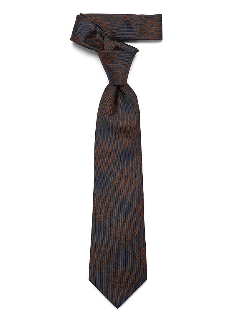 Le 31 Dark Blue Solid check tie for men
