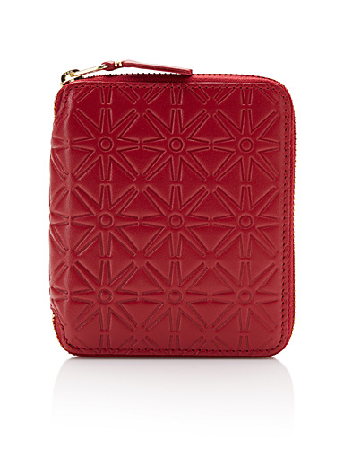 Embossed red leather wallet
