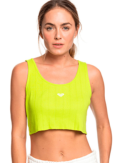 Roxy Green Embroidered ribbed cropped cami for women