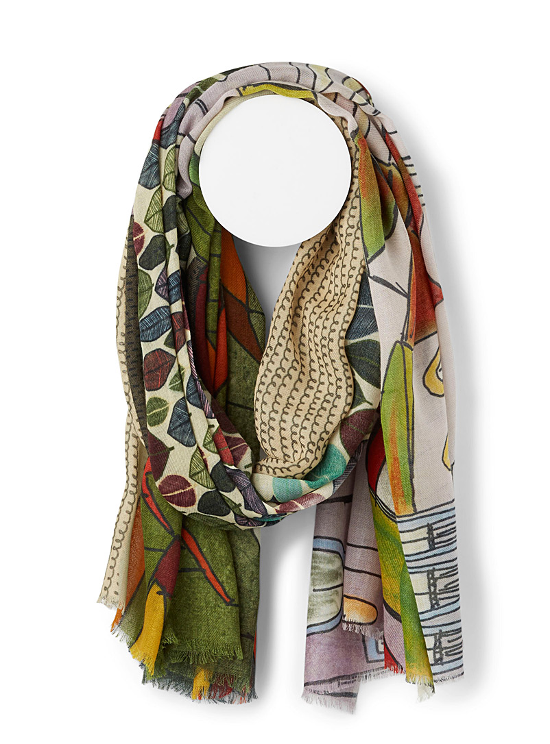 Storiatipic Patterned Green Casa scarf for women