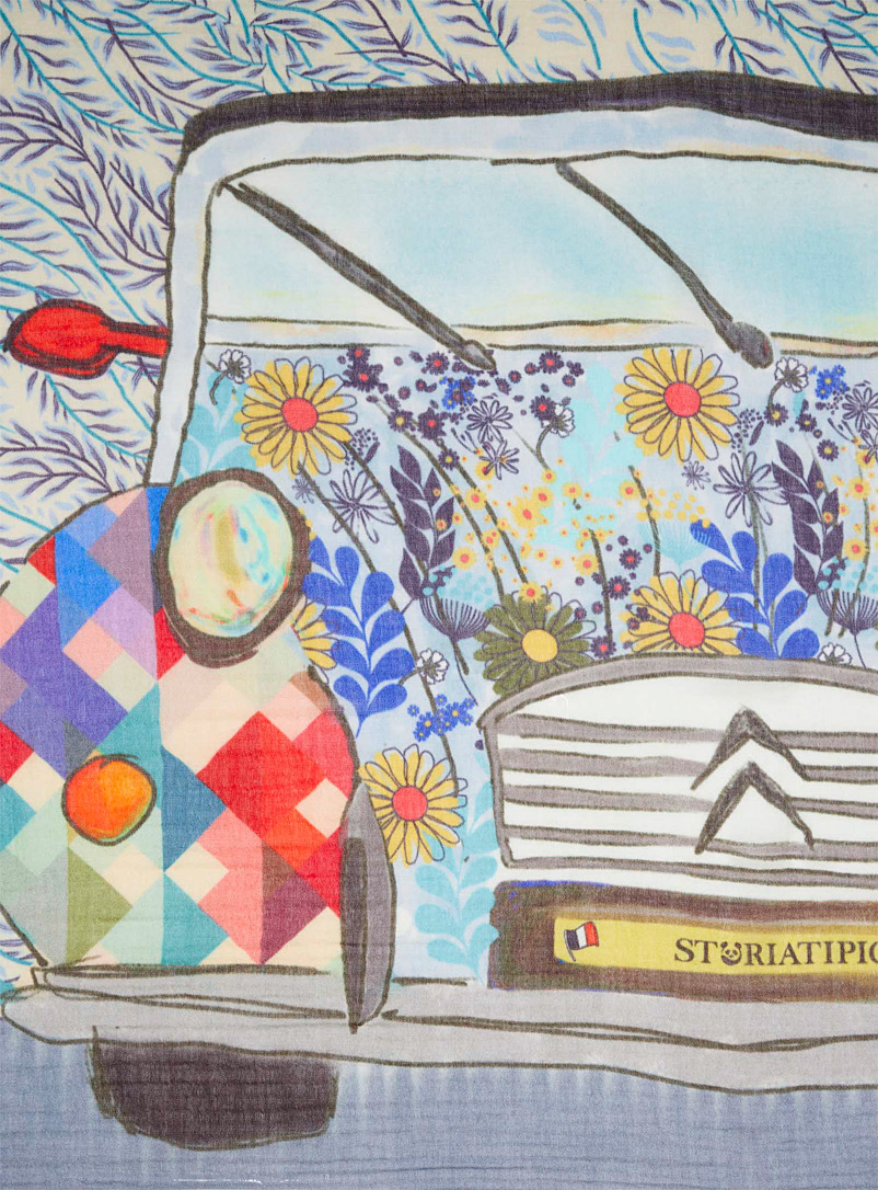 Storiatipic Patterned Blue Pastoral 2CV wool scarf for women