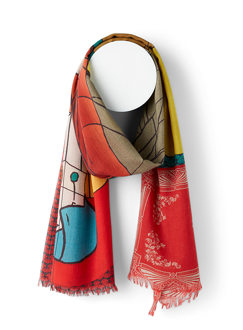 Storiatipic Patterned Red Gisel 1920s woman wool scarf for women