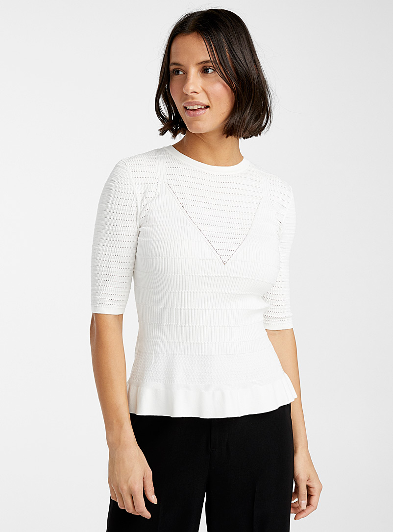 HUGO White Simoney crochet sweater for women