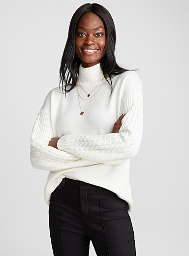 Sonaly puff-sleeve ribbed sweater