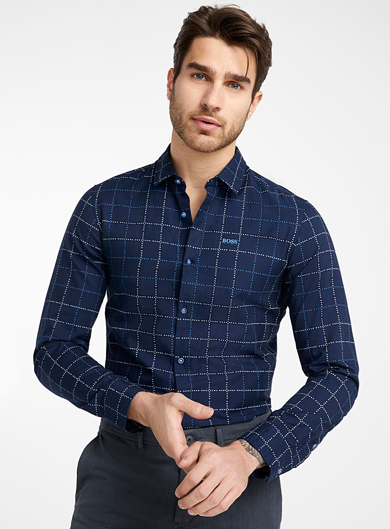 BOSS Marine Blue Signature check shirt  Slim fit for men
