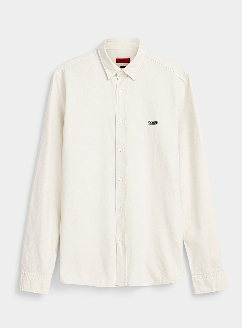 HUGO Ecru/Linen Embroidered logo shirt for men