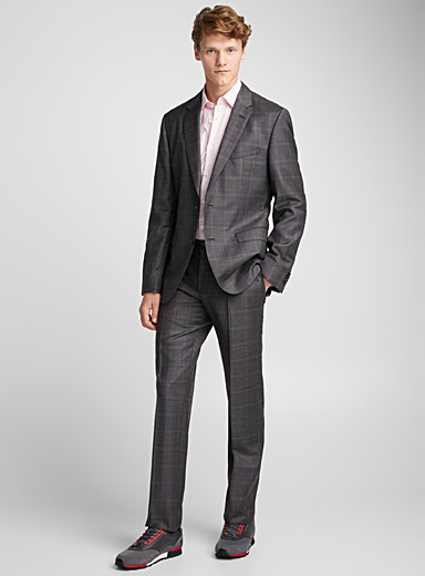 Jeffery/Simmons colourful windowpane check suit <br>Regular fit