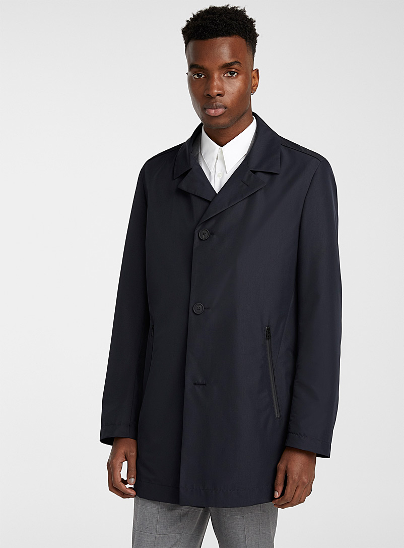 HUGO Dark Blue Midais trench coat for men