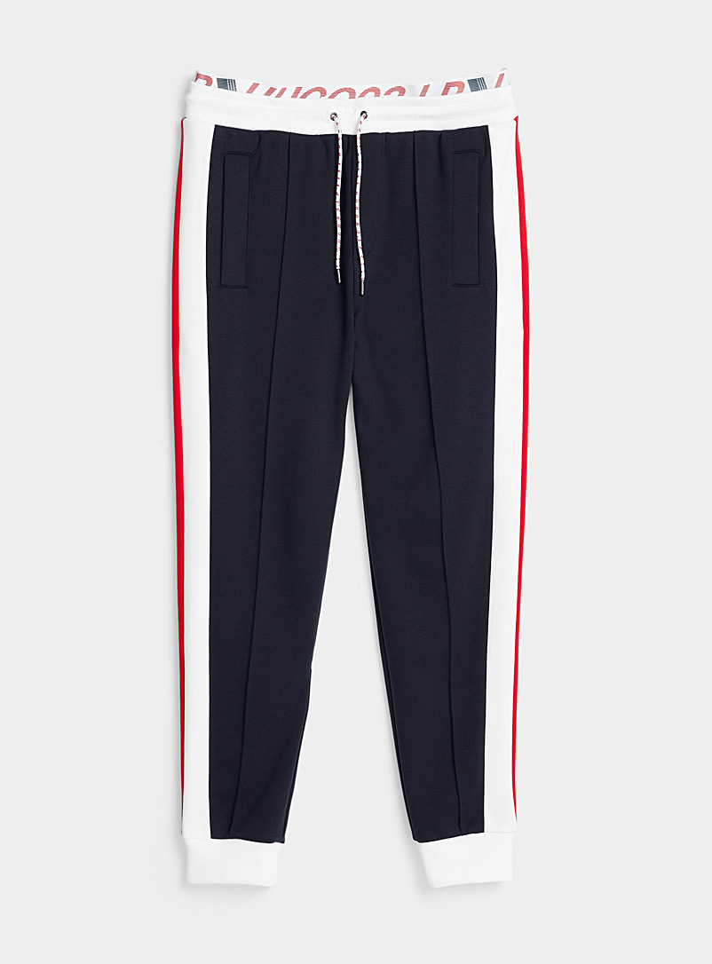 HUGO Dark Blue Tricolour block joggers for men