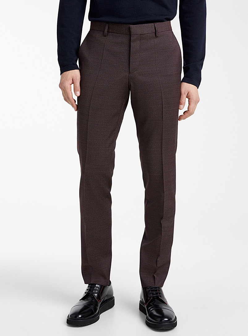 HUGO Ruby Red Getlin two-tone patterned pant for men