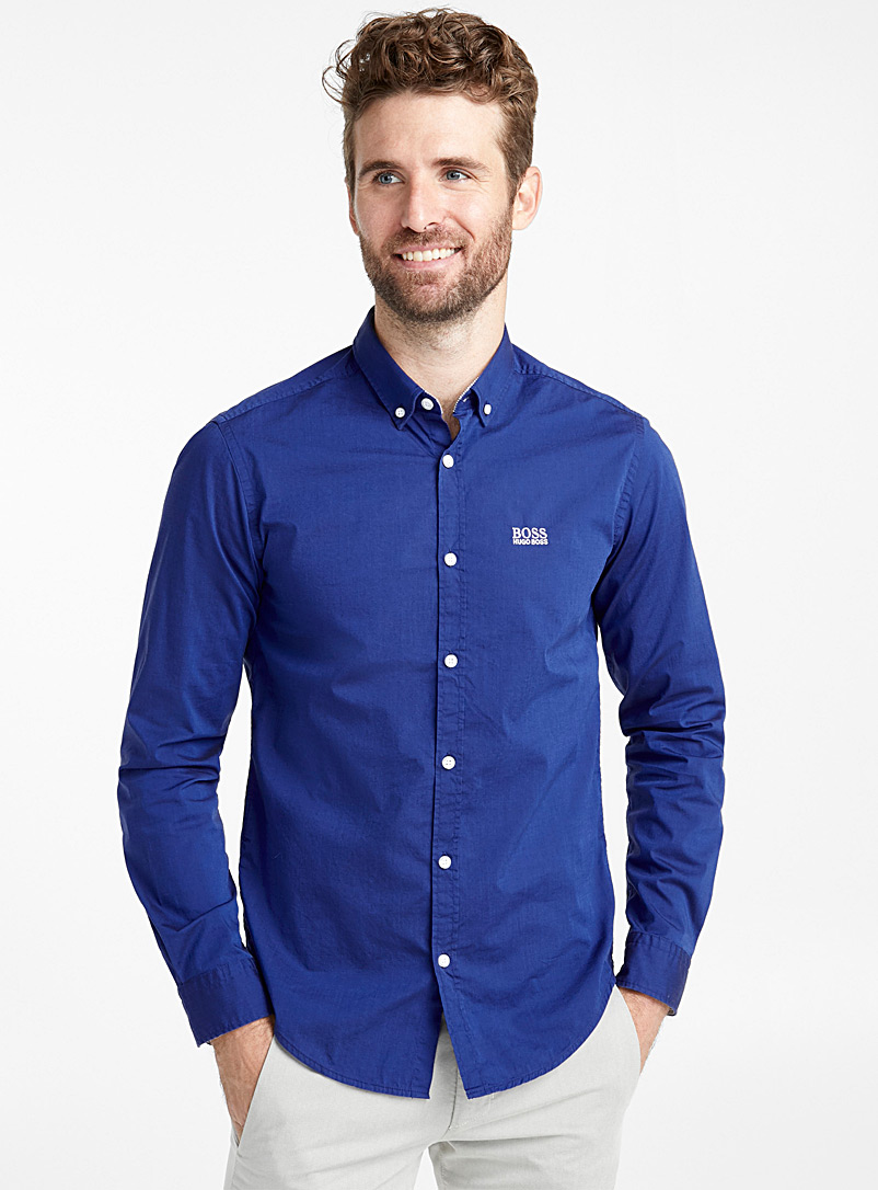 Embroidered logo shirt - Solid - Marine Blue