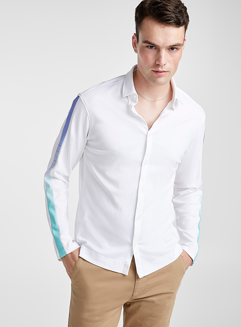 Accent stripe jersey shirt  Semi-tailored fit - Solid - White