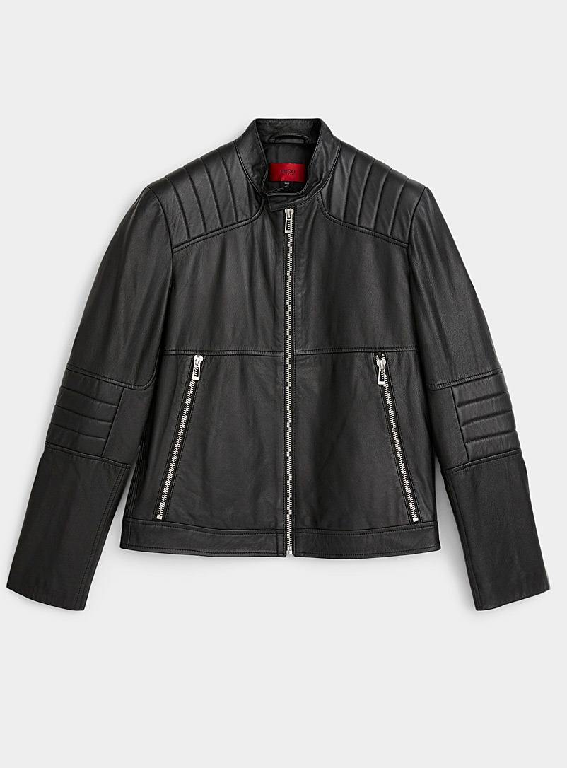 HUGO Black Loscar leather biker jacket for men