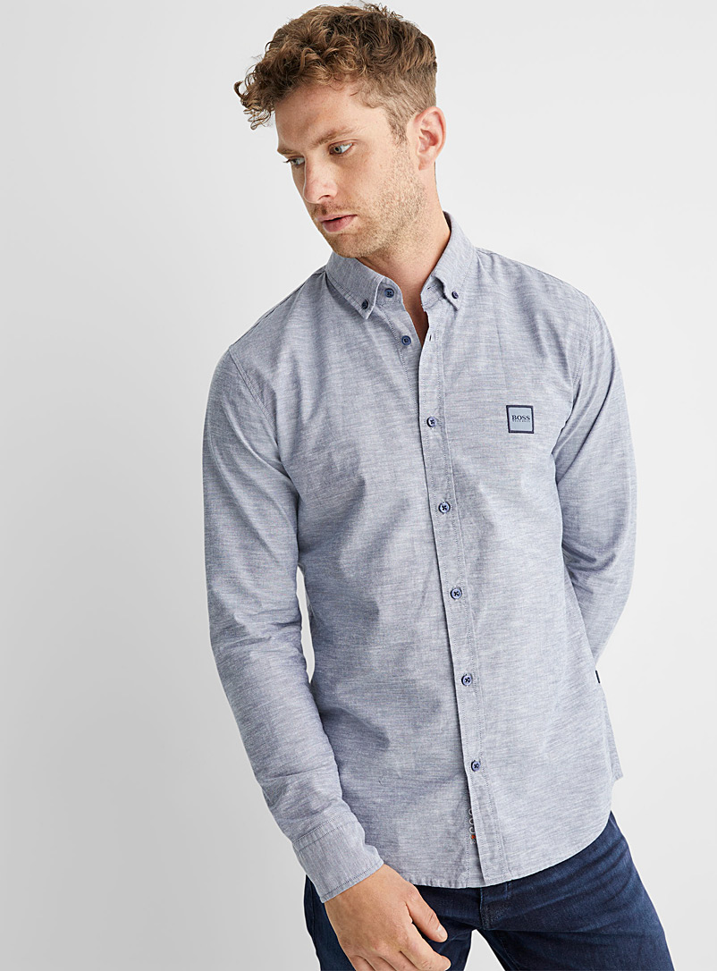 BOSS Marine Blue Mabsoot Oxford shirt Slim fit for men