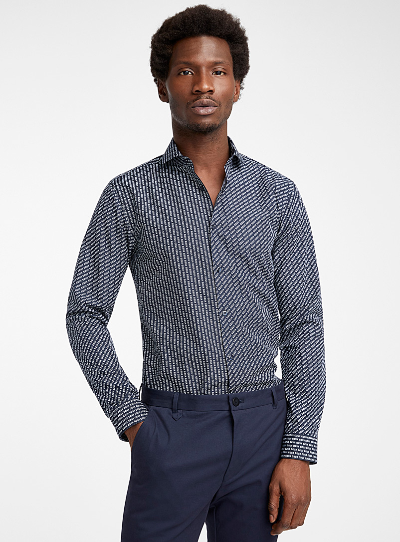 HUGO Marine Blue Erriko signature shirt for men