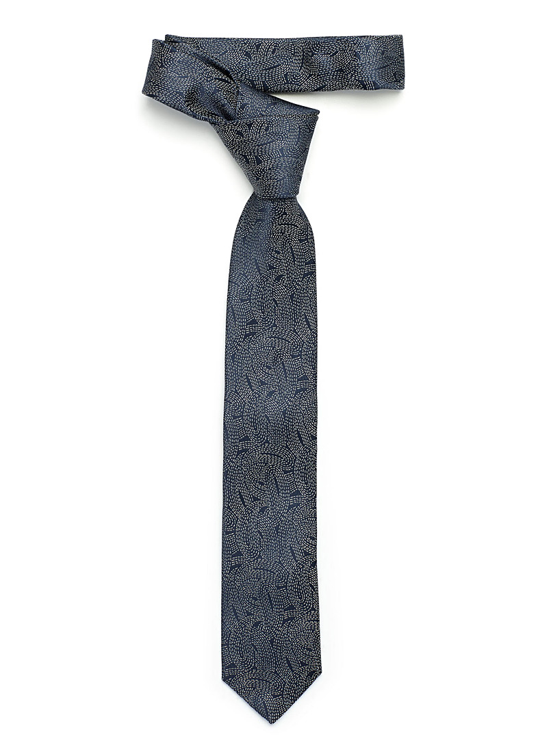 Storm graphic tie - Hugo Boss - Marine Blue