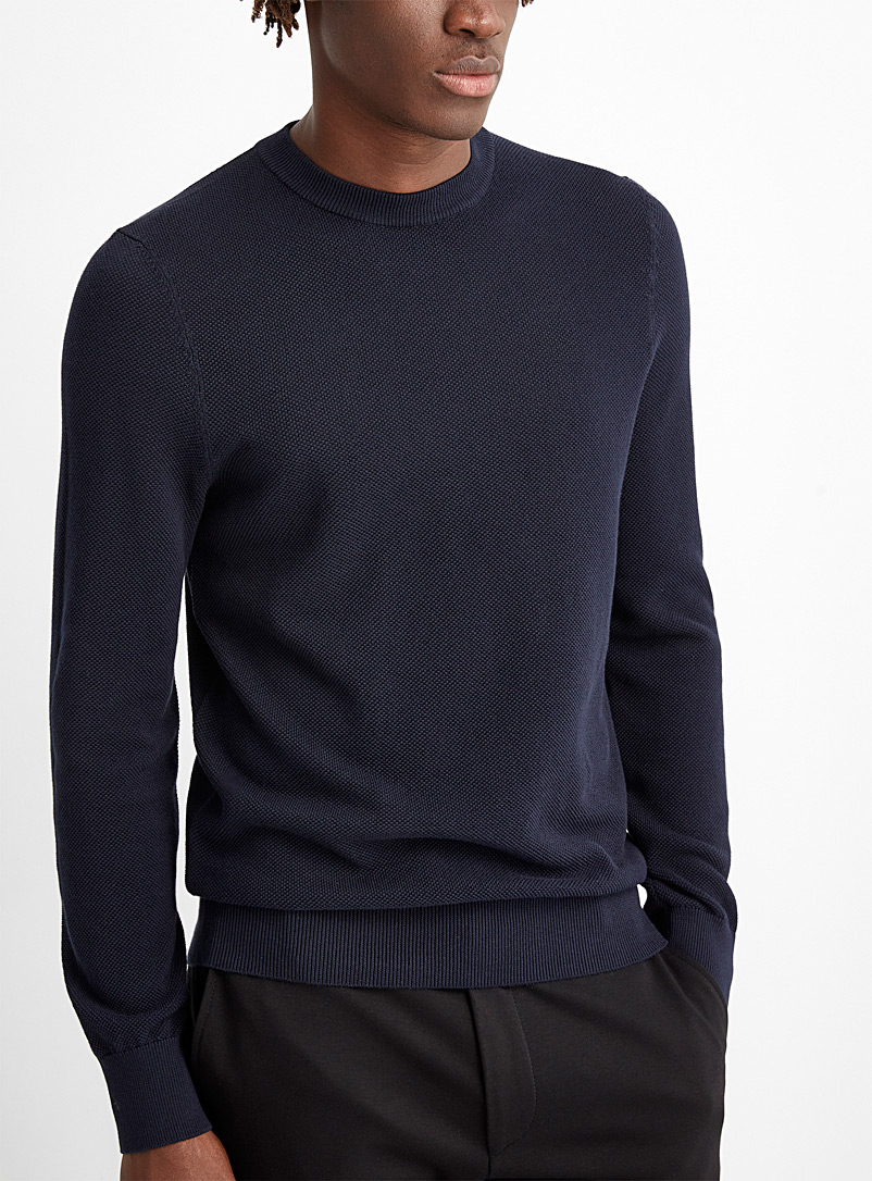 HUGO Marine Blue Textured knit sweater for men