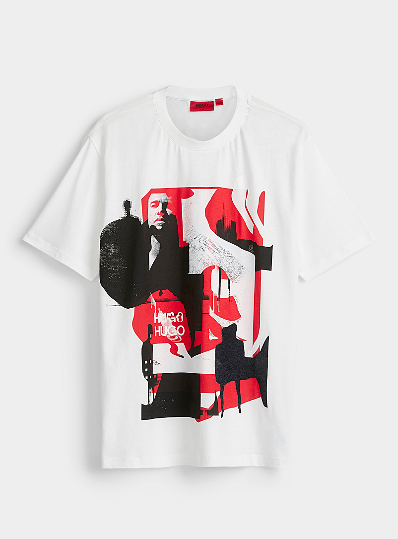 HUGO White Graphic print T-shirt for men