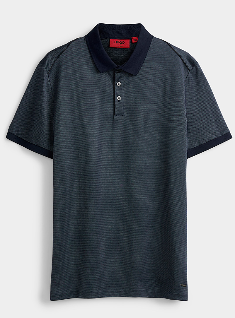 HUGO Blue Satiny mercerized polo for men
