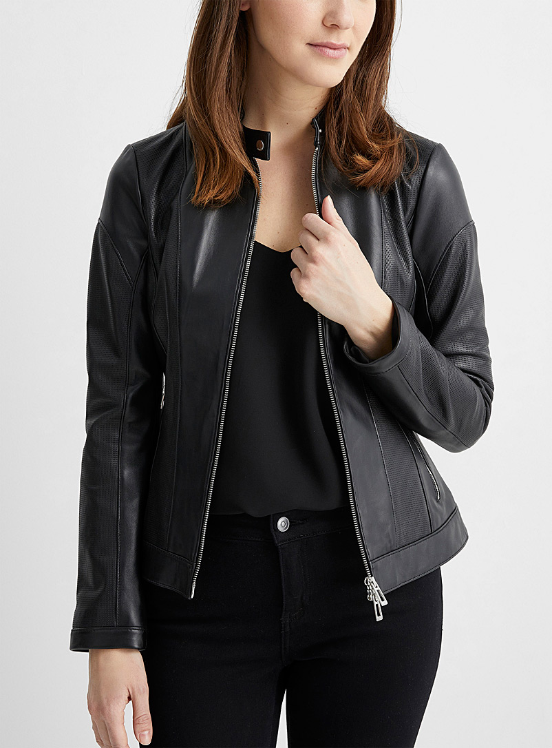 HUGO Black Lusea leather zip jacket for women