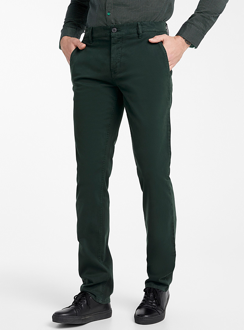 Peachskin chinos  Straight fit - Straight fit - Mossy Green