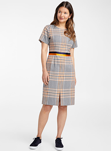 Koni orange check dress