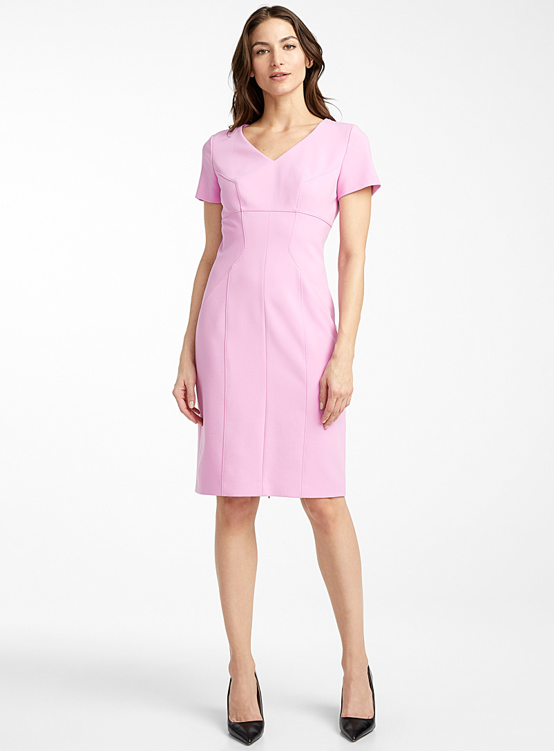 HUGO Lilacs Kudera orchid fitted dress for women