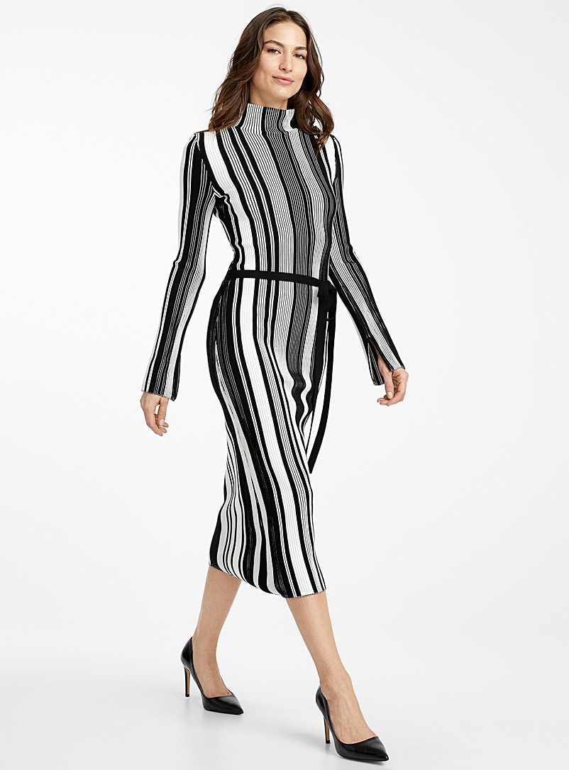 HUGO Black and White Stormin contrast stripe knit dress for women