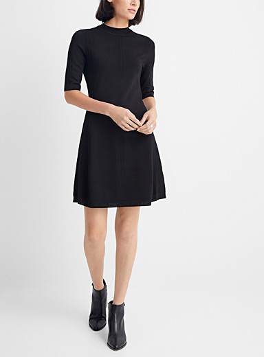 HUGO Black Lace-like accent stretch knit dress for women