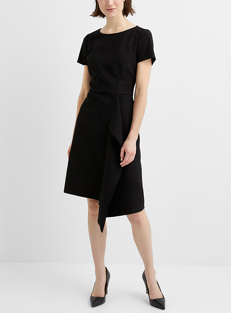 HUGO Black Kibina asymmetrical ruffle dress for women