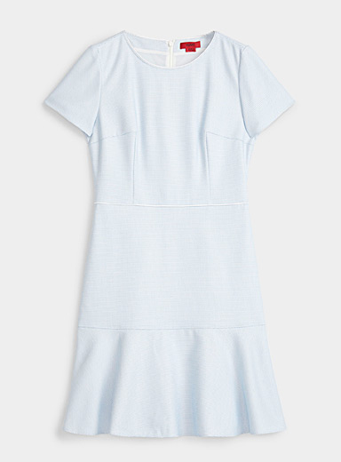 HUGO Baby Blue Karia micro-pattern fitted dress for women
