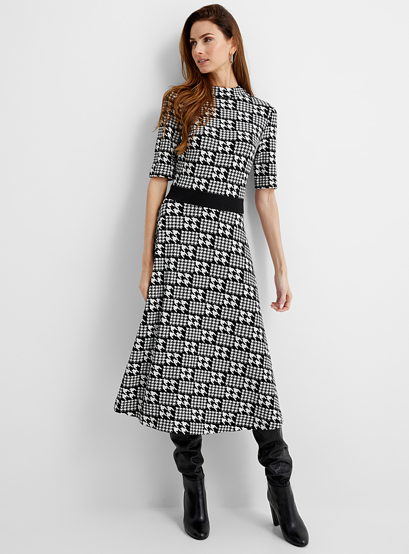 HUGO Black and White Houndstooth knit dress for women