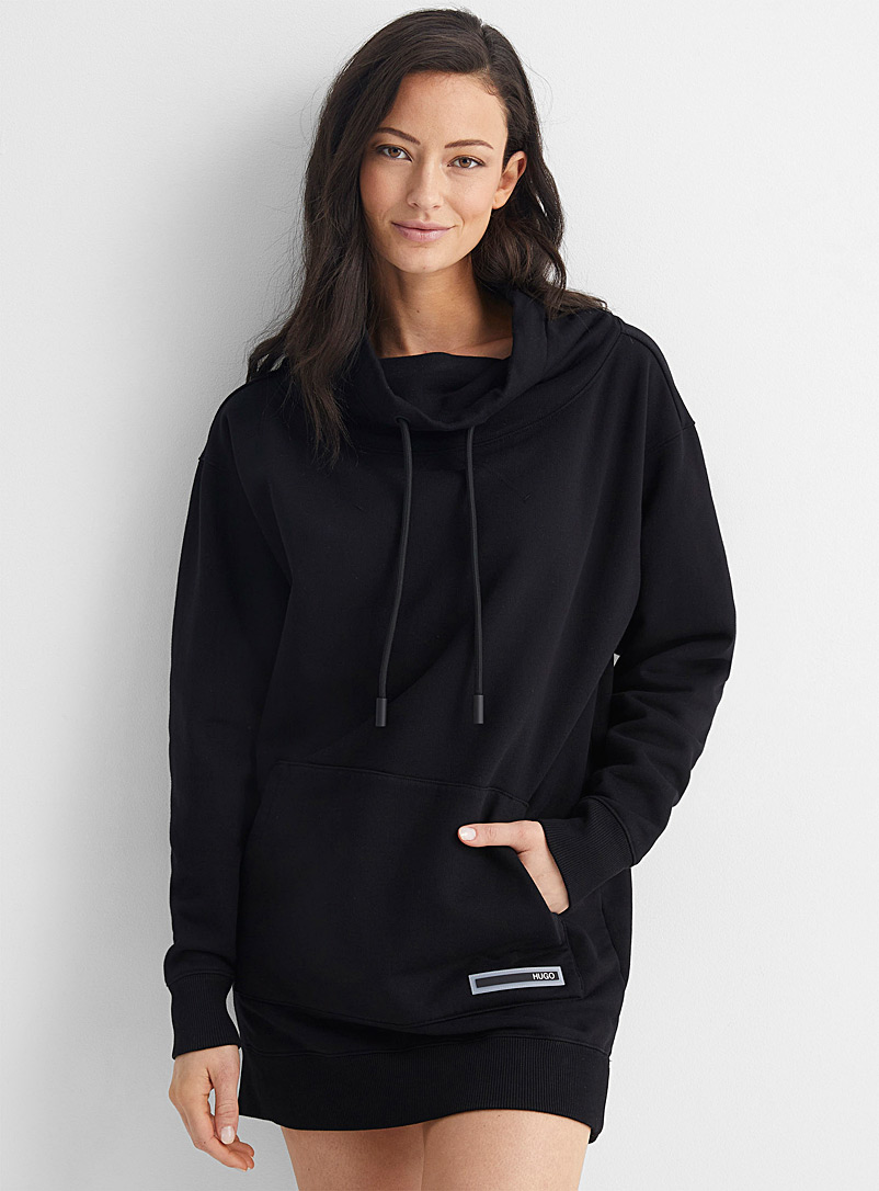 HUGO Black Dumplina drawstring oversized hoodie for women