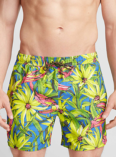 Bright print swim trunk