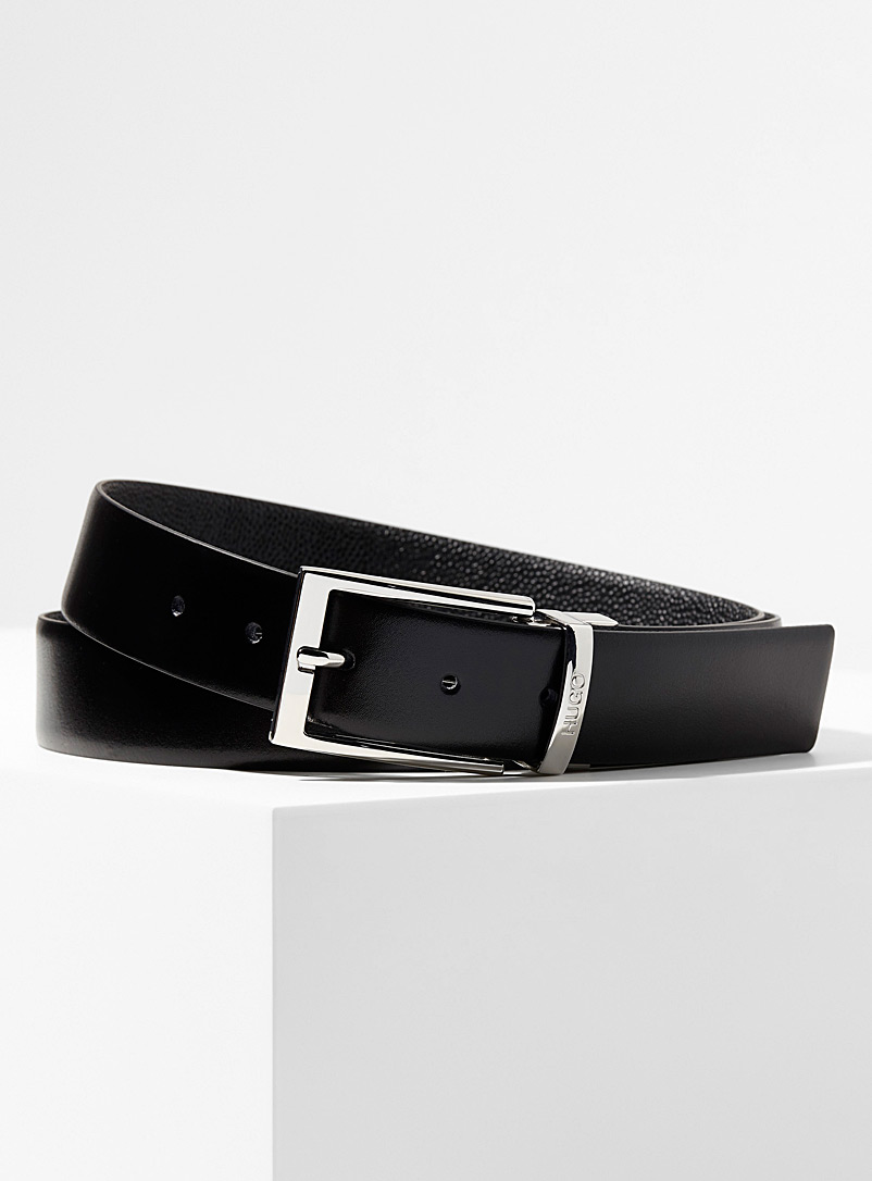 Reversible pebbled and smooth leather belt - Dressy - Black