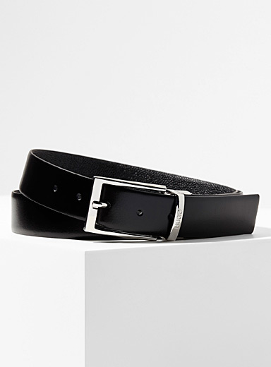 Reversible pebbled and smooth leather belt