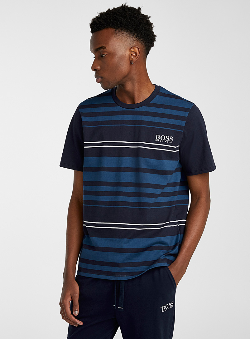 BOSS Patterned Blue Striped lounge T-shirt for men