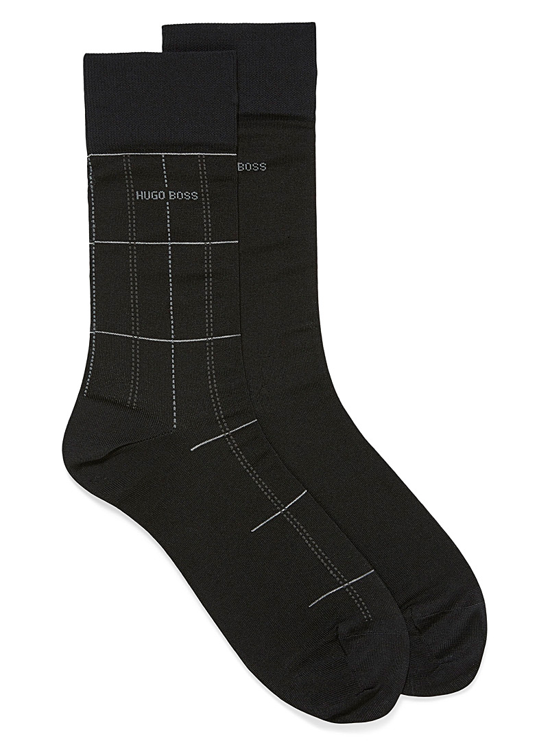 BOSS Patterned Black Lisle checked socks  2-pack for men