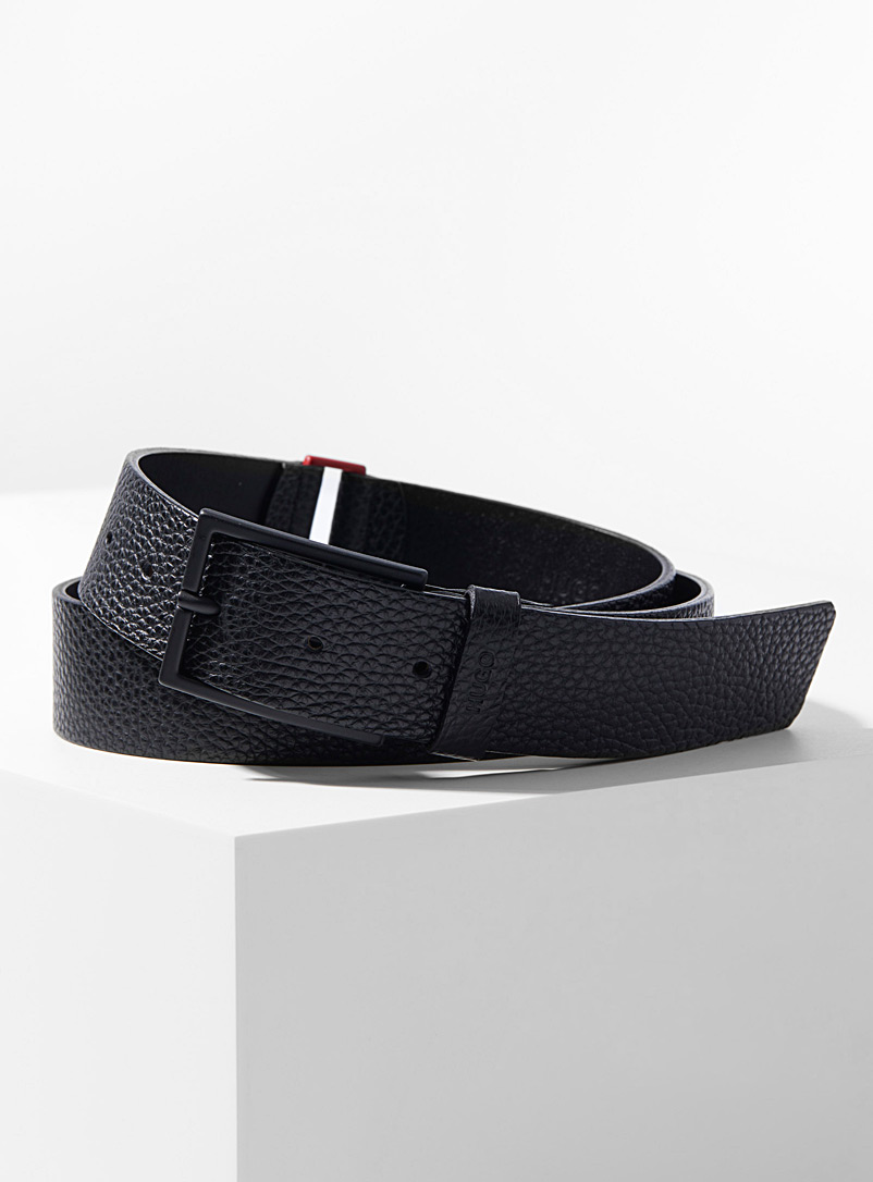 HUGO Black Pebbled leather belt for men