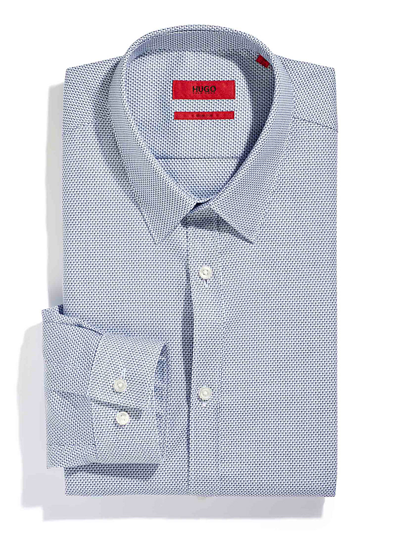 HUGO Marine Blue Keyes chevron jacquard shirt for men