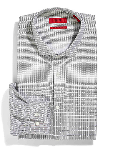 HUGO White Erondo signature striped shirt for men