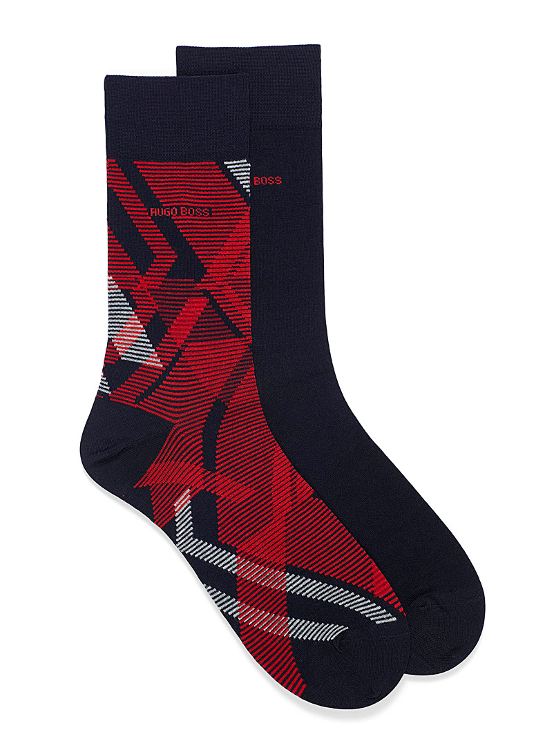 BOSS Patterned Red Modern argyle socks  2-pack for men