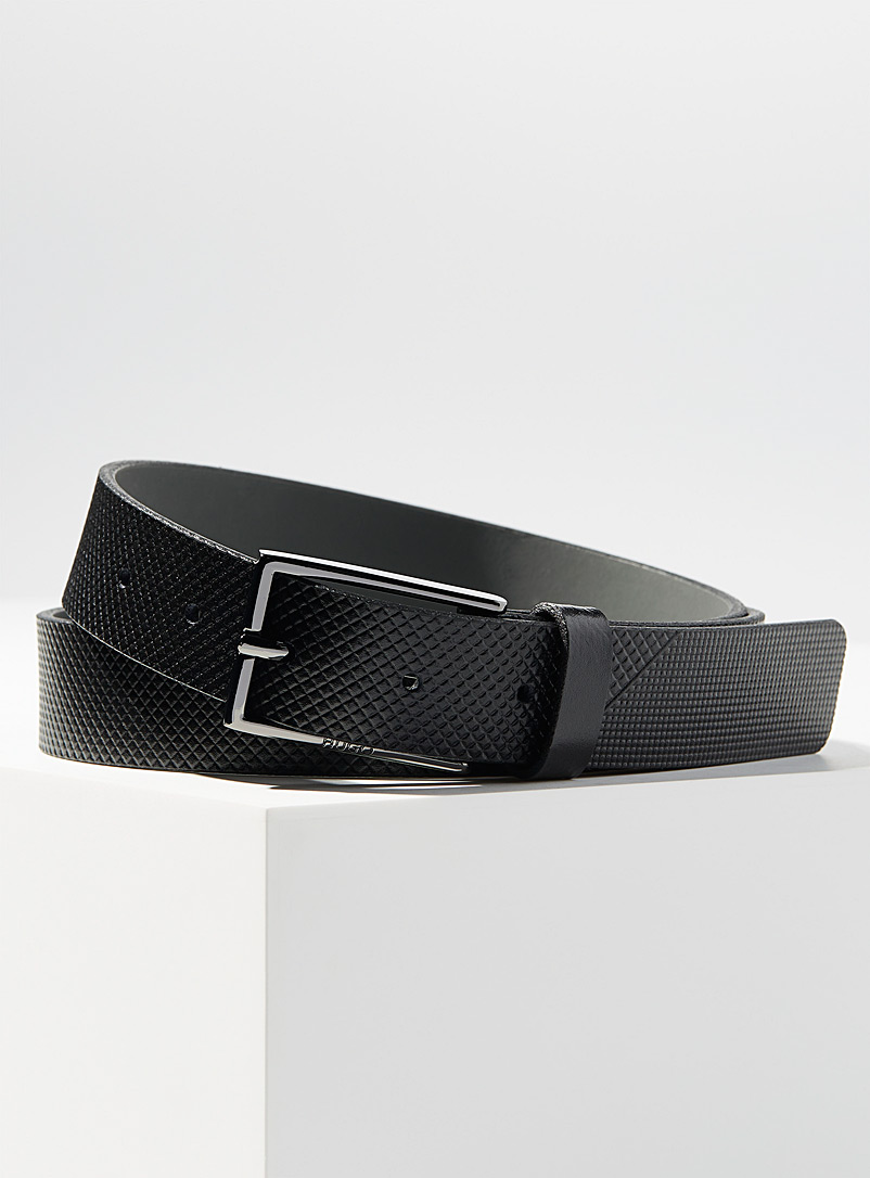 HUGO Black Embossed diamond belt for men