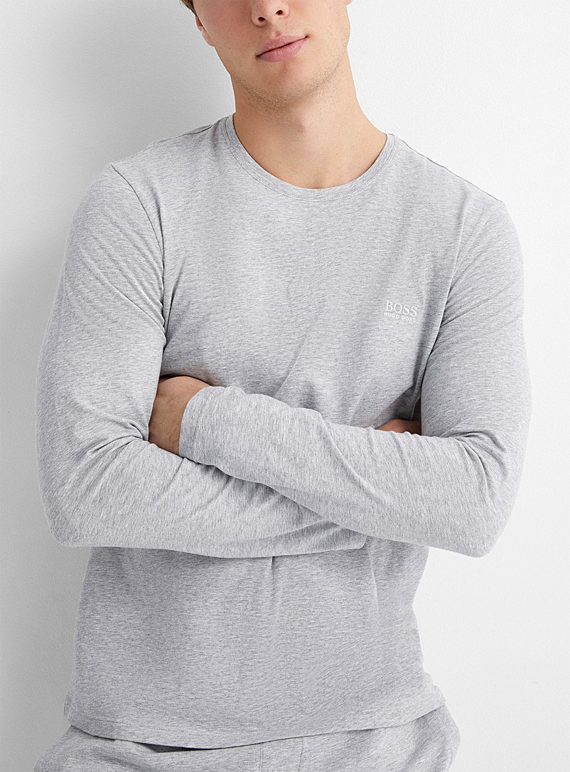 BOSS Oxford Embroidered logo heathered lounge T-shirt for men
