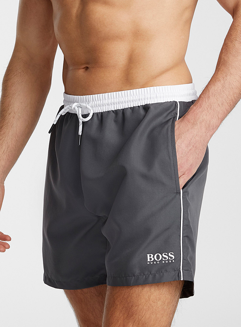 BOSS Grey Sporty piped swim trunk for men