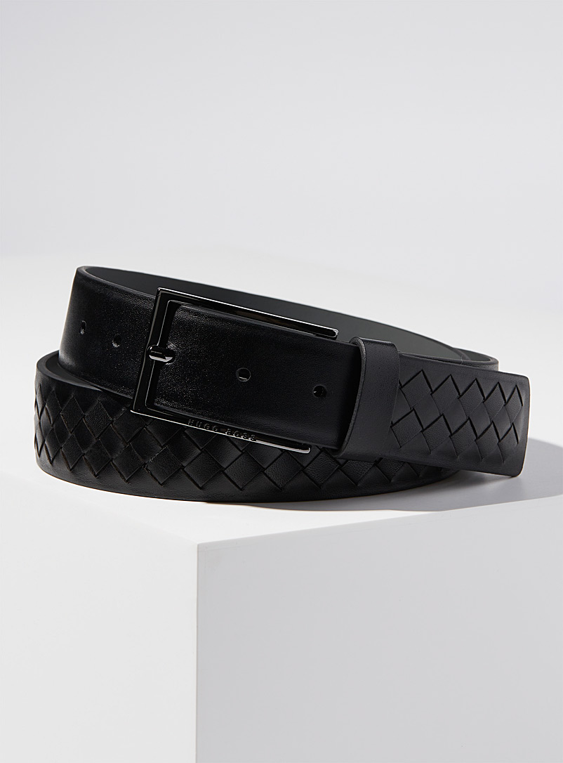 BOSS Black Braided-look monochrome belt for men